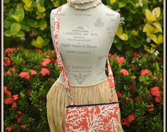 Orange Coral Print Cross Body Bag - iPad Mini - Day Bag