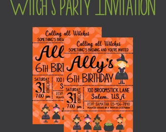 Halloween Party, Witch Party Invitation,  Custom Invitations, Halloween Party