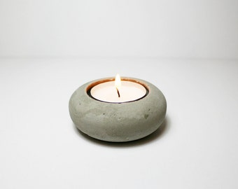 Concrete TeaLight Candle Holder - Gray Cement - round