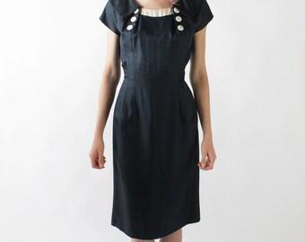 30% OFF SALE Vintage 60s Navy Silk Sailor Collar Formal Fitted Dress   Size 4