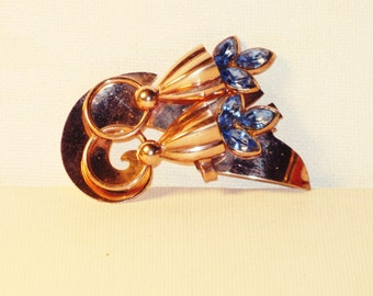 Vintage Art Deco Gold Plated Blue Rhinestone Floral Brooch Pin (B-4-1)