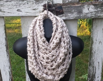 Oversized Cowl, Infinity Scarf, Wool Blend Extra Wide Chunky Long Scarf, Wrap Scarves Circle, Fall Winter Accessories Crochet Knit by Malasa