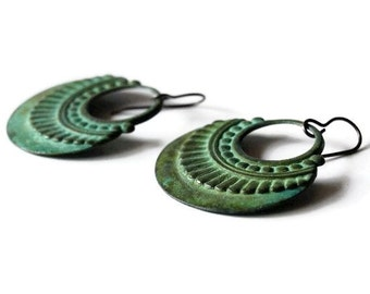 Verdigris Hoop Earrings, Patina Hoops, Verdigris Jewelry, Brass Earrings, Verdigris Patina Earrings