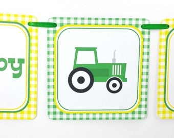 Green Tractor Party Banner, Tractor Birthday Banner, Tractor Banner, Tractor Party Decoration