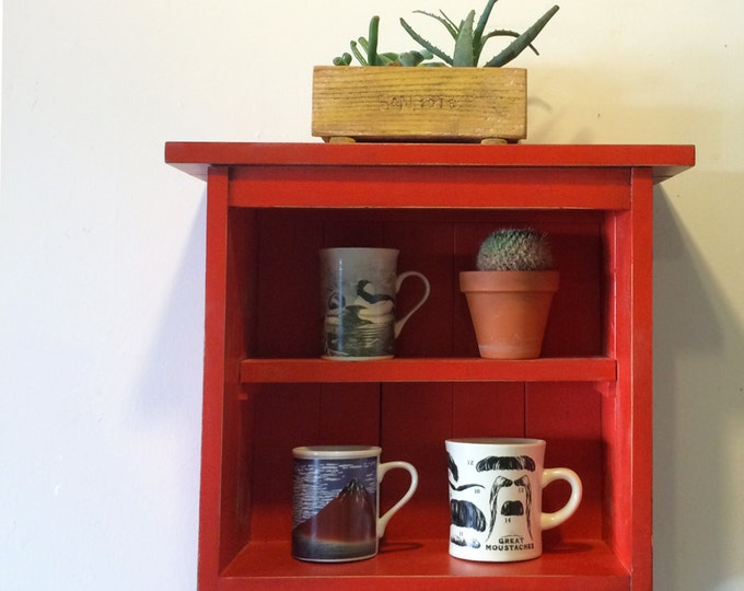 Handmade Open Face Wall Cabinet in Color of Your Choice - Wooden Cabinet - Wall Mounted Shelf Unit