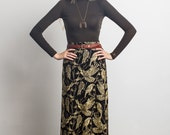 Birds of Prey Maxi Skirt in Gold on Black