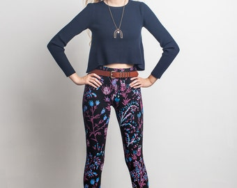 Thistle Leggings in Magenta, Bright Blue and Mint on Black