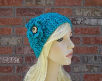 Dark Turquoise Hat with Flower and Wooden Button, Teen Hats, Hats for Women, Winter Hat, Blue Hat, Crochet Beanie, Womens Beanies,