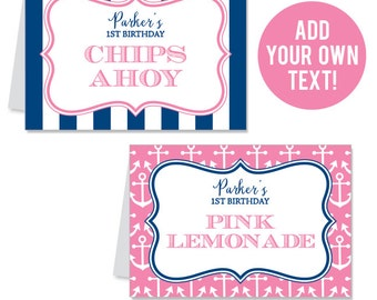 INSTANT DOWNLOAD Pink Nautical Party Buffet Cards - EDITABLE Printable File