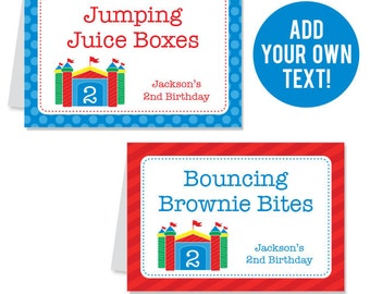 INSTANT DOWNLOAD Bounce House Party Buffet Cards - EDITABLE Printable File