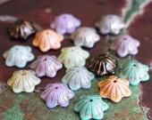 Bell Flower Bead Cap Assortment - Czech Glass Beads - Jewelry Making Supplies - Copper Wash (18 beads)