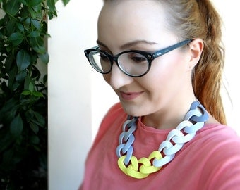 Chain Statement Necklace, Chunky Link Necklace, Yellow Grey White Necklace