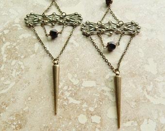 statement earrings, brass dangle earrings, bold black earrings, chandelier earrings, super long dangle earrings, brass filigree, avant garde