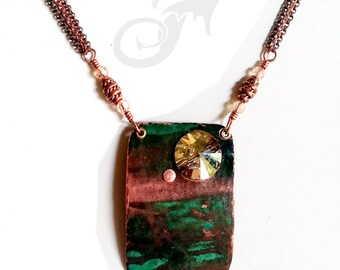 SCENIC Verdigris Copper Necklace w/ Swarovski Rivoli ~ Hammered, Layered, Riveted ~ Natural Green Patina OLD Metal #N0588 by RTD