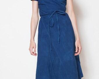 Indigo Cotton Wrap Dress