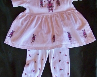 Farmer's Dress with Leggings  Set Hand Painted Pink Dancing Rabbits and Flowers on 100% Cotton