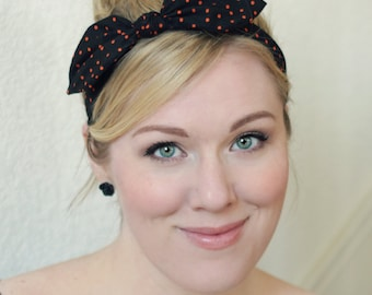Black and Orange Halloween Headband, Rockabilly Wired Bow