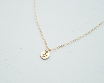 Gold Star Necklace - small gold filled disc hand stamped tiny round personalized charm pendant bridesmaid gift - simple everyday jewelry