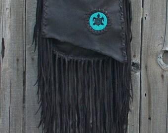 Handmade purse with fringe and a beaded turtle totem , Crossbody handbag