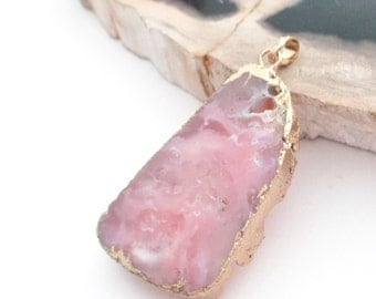 Pink Druzy Pendant - Flat Agate Dipped in Gold - Double Sided - Geniune Semiprecious Teardrop - Jewelry Making - Select With/ Without Chain