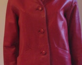 60s 70s Brit vintage red leather jacket small to medium