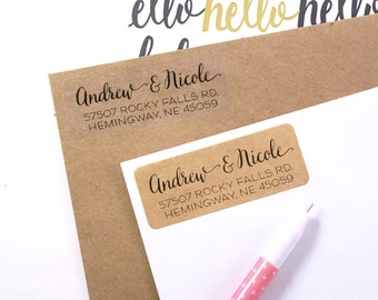 Custom address STAMP or LABELS with modern calligraphy & print font - 2 5/8 x 1 custom labels, rubber stamp