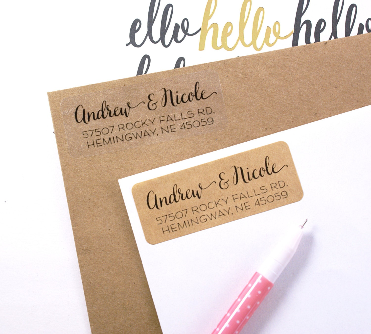 Custom Address Stamp Or Labels With Modern Calligraphy Print