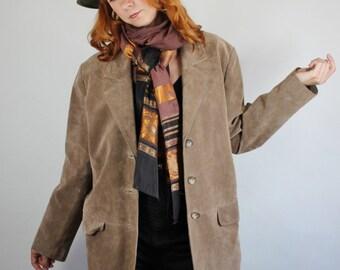 SALE - Vintage 80s Womens Light Brown Suede Fall Autumn Jacket // Southwest // Boho