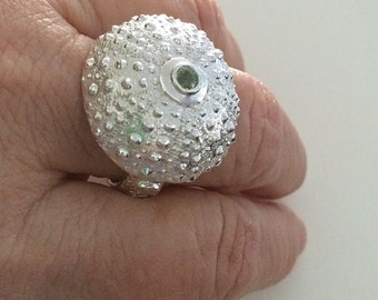 green sapphire ring, silver ring, sea urchin ring, statement ring, surfer gift, beachcombler gift, oceanographer, diver gift, OOAK, size 10