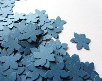 Navy blue paper flowers small paper flowers small die cuts paper flower punches scrapbooking wedding confetti, party confetti table confetti