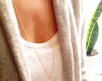 Long Gold Necklace, Circle Necklace, 14k Gold Filled, Gold Beaded Necklace, Beaded Satellite Chain, Long Circle Necklace, Layered Necklace