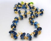 22k Solid Gold London Blue Topaz Necklace, 22k Solid Gold, 22k Solid Gold Jewelry, 22k Gold Blue Topaz Necklace, Solid Gold Jewelry