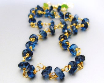 18k Solid Gold London Blue Topaz Necklace