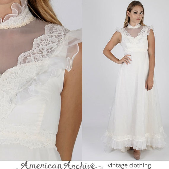 Vintage 70s White Wedding Dress Sheer Floral Lace Train Gown