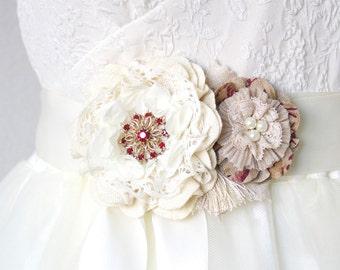 Floral Wedding Dress Belt - Red, Burlap, Ivory, Fabric Flowers, Pearl Bridal Belt, Bridesmaid Sash, Vintage Rustic Wedding Sash