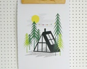 SALE A Frame Log Cabin Retro in the Woods Alpine Print Trees Forest Camping Adventure Outdoors A3 Art Print