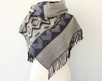 Blanket scarf Boho chic shawl Tribal reversible scarf Aztec winter scarf Winter wrap Grey and blue large scarf Geometric Autumn fall fashion