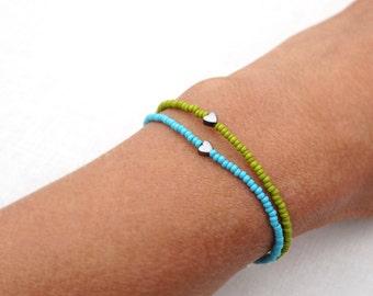4th July Friendship Bracelet Sterling Tiny Bracelet Minimal Bracelet Stacking Bracelet Petite Heart Bracelet Thin Bracelet Blue or Green