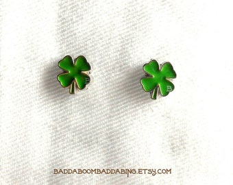 Green Shamrock Earrings Clover St Patricks Day Surgical Steel Stud Post