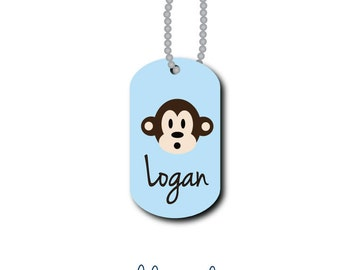 Monkey Bag Tag - Monkey Luggage Tag - Personalized Bag Tag - Lunch Box Tag - Custom Tag - Zipper Pull - Mini Tag - Design Your Own