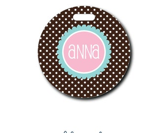 Mini Polka Dots...Personalized Luggage Bag Tag