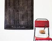 Vintage school chart Educational chart,  Back to school Times table chart, wall hanging, children bedroom decor, Chalkboard black