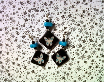 Tuquoise, Black and White Bone Butterfly Earrings (2267)