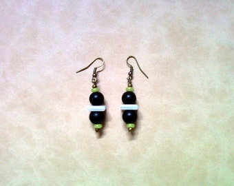 Black, White, Lime Gree and Brass Earrings (2269)