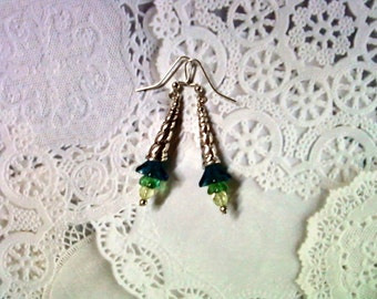 Yellow, Dark Aqua Blue and Green Flower Earrings (2274)