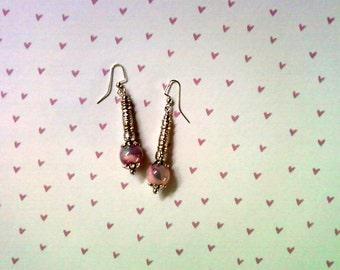 Pink, Aqua and Violet Earrings (2277)