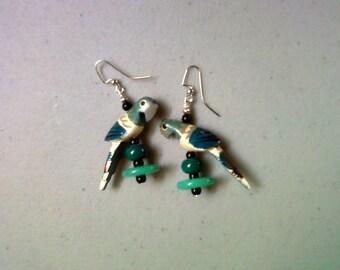 Teal Parrot Earrings (1014)