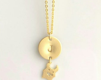 Little Monster Necklace - personalized initial pendant w/ tiny gold charm - child baby boy girl memento special gift - small pendant letter