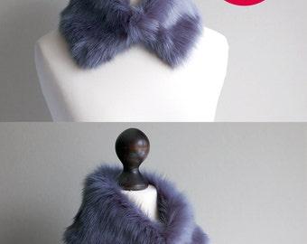 20% OFF Faux fur collar in gentle blue. Fur scarf. Womens fur collar. Buy faux fur collar. Clothing Sale