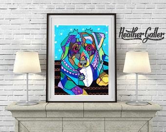 Mini Australian Shepherd art dog  Art Print Poster by Heather Galler (HG674)
